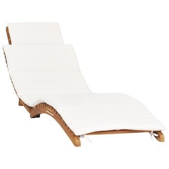 Składany leżak z kremową poduszką, lite drewno tekowe