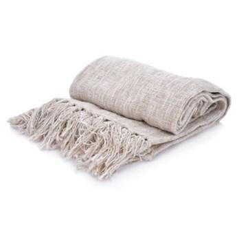 Koc pled DUKA BOHO 170x130 cm beżowy bawełna