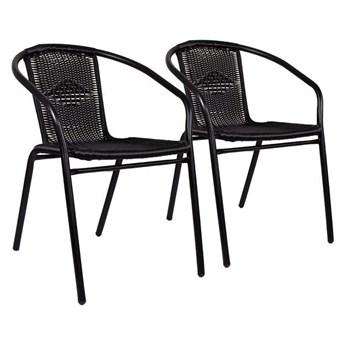 Krzesła ogrodowe 2 szt. na taras metalowe czarne zestaw