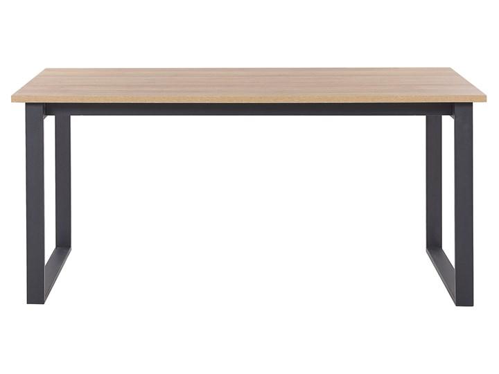 Stół do jadalni ciemne drewno z czarnym 160 x 80 cm prostokątny blat metalowe nogi dla 6 osób styl industrialny Płyta MDF Długość 160 cm  Pomieszczenie Stoły do jadalni