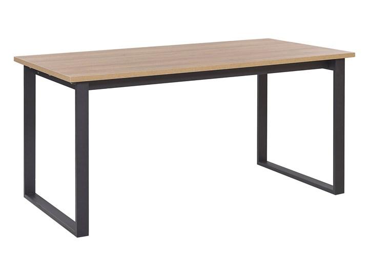 Stół do jadalni ciemne drewno z czarnym 160 x 80 cm prostokątny blat metalowe nogi dla 6 osób styl industrialny