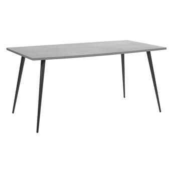 Stół do jadalni efekt betonu z czarnym 160 x 80 cm prostokątny blat metalowe nogi dla 6 osób styl nowoczesny