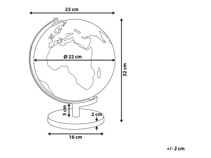Globus czarny materiał syntetyczny średnica 23 cm podświetlany LED na biurko ozdobny dekoracyjny Kategoria Figury i rzeźby Metal Globusy Kolor Złoty