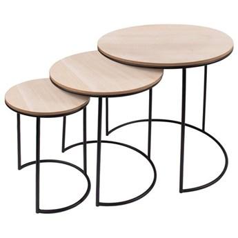 Stolik kawowy loft, metalowy industrialny zestaw 3 szt. drewniane