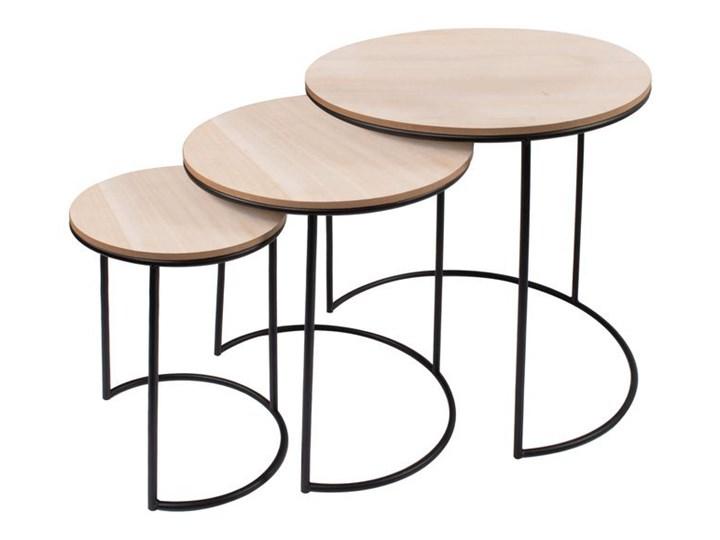 Stolik kawowy loft, metalowy industrialny zestaw 3 szt. drewniane Zestaw stolików Drewno Wysokość 41 cm Wysokość 36 cm Płyta MDF Wysokość 46 cm Styl Vintage