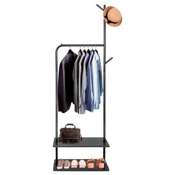 Stojak na ubrania z półkami na buty 175cm wieszak czarny