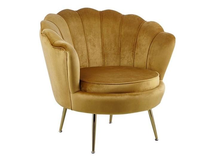 Nowoczesny fotel muszelka VIDAL Z WELURU w kolorze ZŁOTYM na złotych nogach