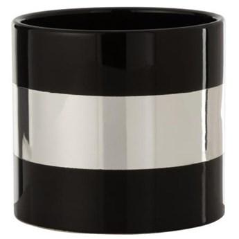 Doniczka Stripe Ø16x14 cm czarno-srebrna