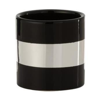 Doniczka Stripe Ø9x9 cm czarno-srebrna