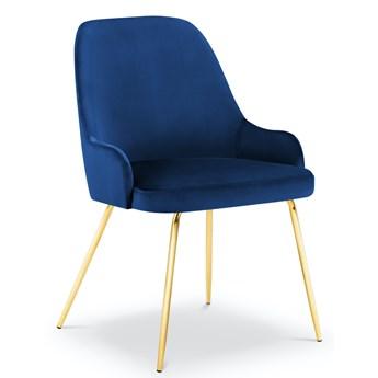 Krzesło Cadiz 55x85 cm królewski niebieski nogi złote
