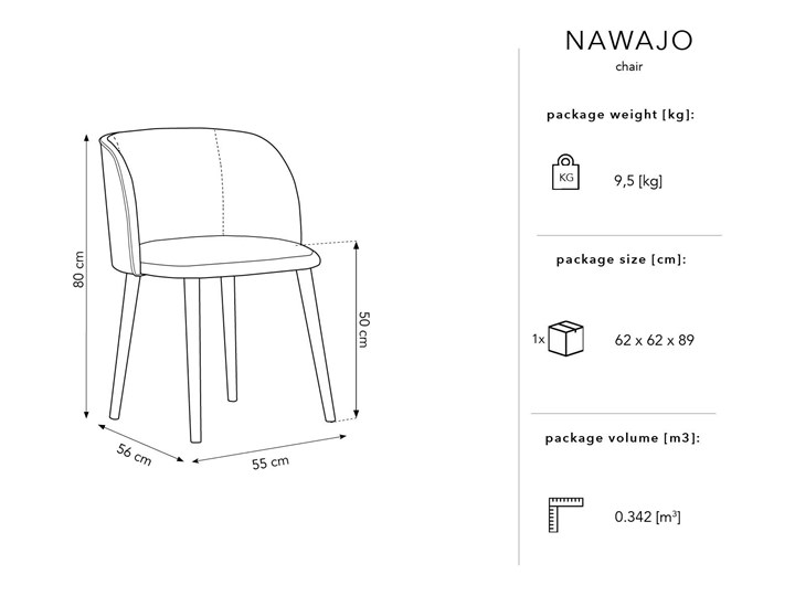 Krzesło Nawajo 55x80 cm czarne Z podłokietnikiem Tapicerowane Tkanina Drewno Styl Nowoczesny