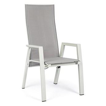 Krzesło ogrodowe z podłokietnikami Steven 60x112 cm szare
