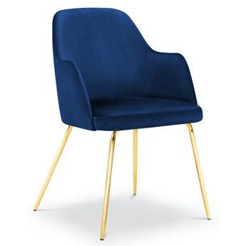 Krzesło z podłokietnikami Chaya 57x85 cm królewski niebieski nogi złote
