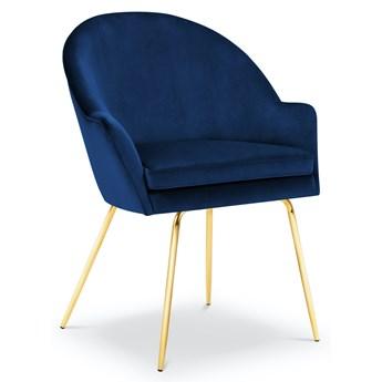 Krzesło z podłokietnikami Ezra 58x93 cm królewski niebieski nogi złote