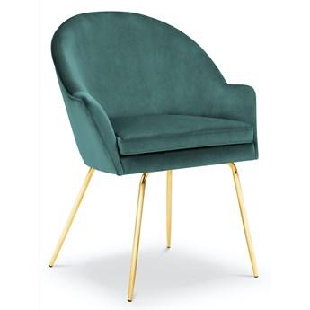 Krzesło z podłokietnikami Ezra 58x93 cm petrol nogi złote