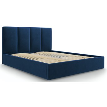 Łóżko z pojemnikiem Pyla 140x200 cm niebieskie welurowe
