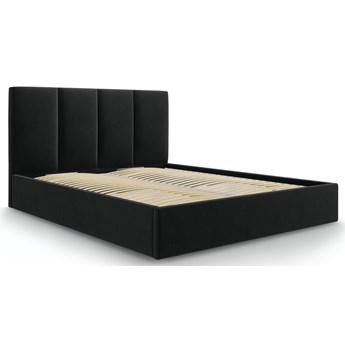 Łóżko z pojemnikiem Pyla 160x200 cm czarne welurowe
