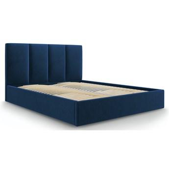 Łóżko z pojemnikiem Pyla 160x200 cm niebieskie welurowe