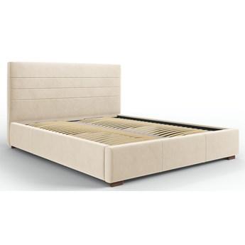 Łóżko z pojemnikiem Aranda 140x200 cm beżowe welur