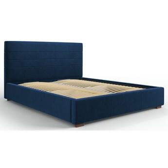 Łóżko z pojemnikiem Aranda 140x200 cm królewski niebieski welur