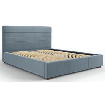 Łóżko z pojemnikiem Aranda 140x200 cm niebieskie welur