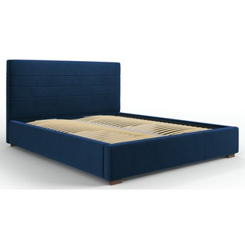 Łóżko z pojemnikiem Aranda 160x200 cm królewski niebieski welur