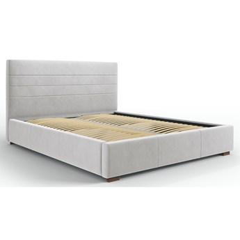 Łóżko z pojemnikiem Aranda 180x200 cm jasnoszare welur