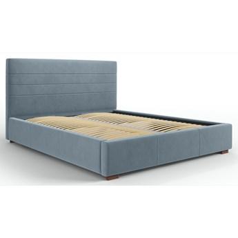 Łóżko z pojemnikiem Aranda 180x200 cm niebieskie welur