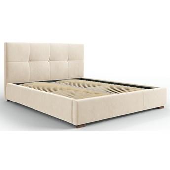 Łóżko z pojemnikiem Sage 140x200 cm beżowe welur