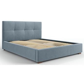 Łóżko z pojemnikiem Sage 160x200 cm niebieskie welur