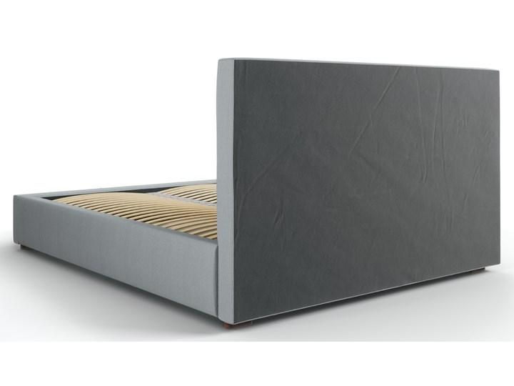 Łóżko z pojemnikiem Seri 140x200 cm jasnoszare Łóżko tapicerowane Łóżko pikowane Zagłówek Z zagłówkiem
