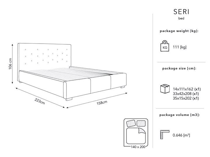 Łóżko z pojemnikiem Seri 140x200 cm jasnoszare Łóżko tapicerowane Łóżko pikowane Kolor Szary Kategoria Łóżka do sypialni
