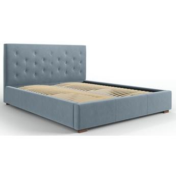 Łóżko z pojemnikiem Seri 140x200 cm niebieskie welur