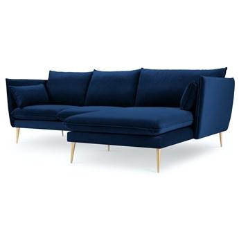 Narożnik 4-os. Agate 235x165 cm królewski niebieski nogi złote prawy