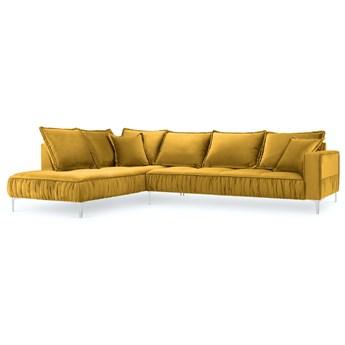 Narożnik 5-os. Jardanite 296x213 cm żółty nogi srebrne lewy