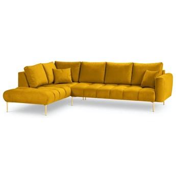 Narożnik 5-os. Malvin 301x216 cm żółty nogi złote lewy