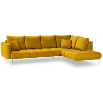 Narożnik 5-os. Malvin 301x216 cm żółty nogi złote prawy