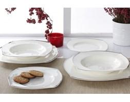 Serwis obiadowy LA LUNA PLATINUM na 6 osób (18 el.) -- srebrny biały