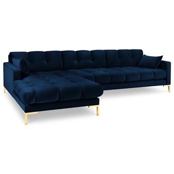 Narożnik 5-os. Mamaia 293x185 cm królewski niebieski nogi złote lewy