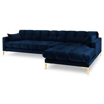 Narożnik 5-os. Mamaia 293x185 cm królewski niebieski nogi złote prawy