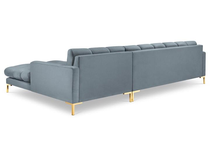 Narożnik 5-os. Mamaia 293x185 cm niebieski nogi złote prawy Materiał obicia Tkanina