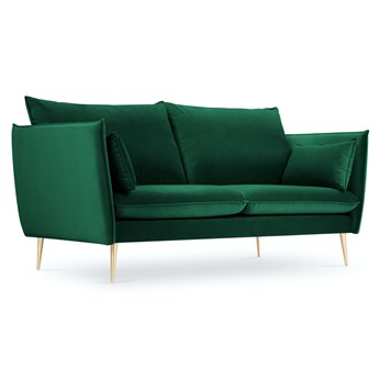 Sofa 2-os. Agate 143 cm butelkowa zieleń nogi złote