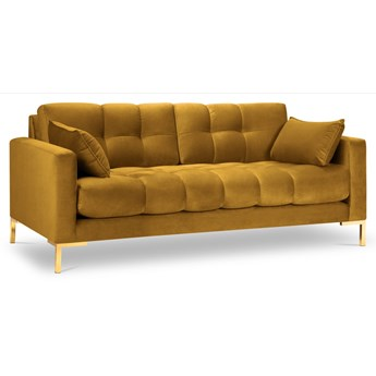 Sofa 2-os. Mamaia 152 cm żółta nogi złote