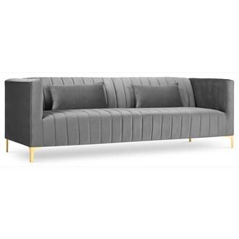 Sofa 3-os. Annite 220 cm jasnoszara nogi złote