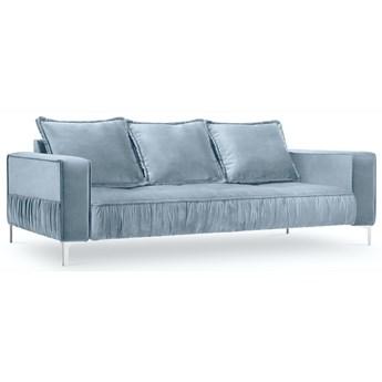 Sofa 3-os. Jardanite 216 cm jasnoniebieska nogi srebrne