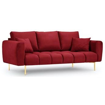 Sofa 3-os. Malvin 220 cm czerwona nogi złote