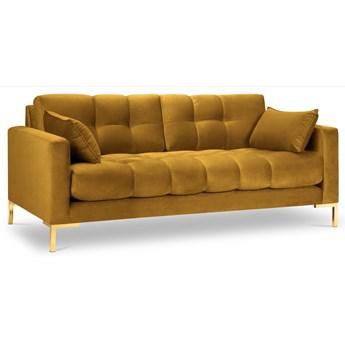 Sofa 3-os. Mamaia 177 cm żółta nogi złote