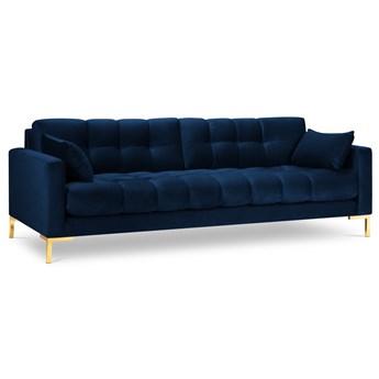 Sofa 4-os. Mamaia królewski niebieski nogi złote