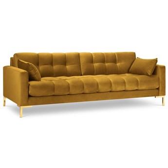 Sofa 4-os. Mamaia 217 cm żółta nogi złote