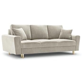 Sofa rozkładana 3-os. Moghan 235 cm beżowa nogi złote